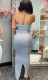 Sommer Sexy Grey Strap Meerjungfrau Langes Kleid