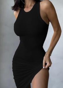 Vestido casual de verão em malha preta irregular sem mangas sem mangas