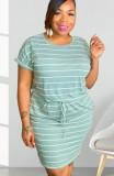 Vestido camisero con cordones de rayas casuales de verano de talla grande