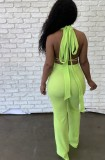Summer Green Sexy Strings Crop Top y conjunto de pantalones