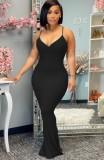 Sommer Sexy Black Strap Meerjungfrau Langes Kleid