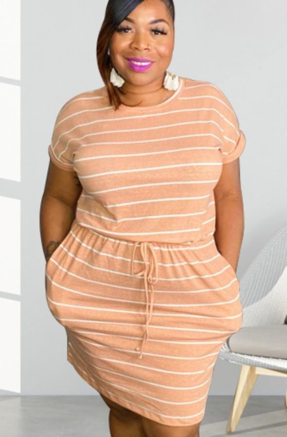 Sommer Plus Size Casual Streifen Kordelzug Hemdkleid