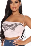 Sommer Schmetterling Print Pink Sexy Neckholder Crop Top