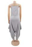 Sommer Casual Grau Strap Loose Jumpsuit
