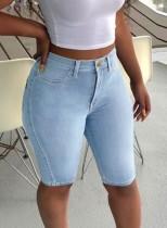 Летние голубые джинсовые шорты с высокой талией