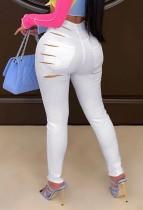 Летние белые сексуальные рваные джинсы с высокой талией