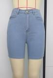 Sommer hellblaue Jeansshorts mit hoher Taille