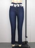 Jeans ajustados de cintura alta de verano azul