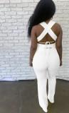 Sommer weiß sexy Strings Crop Top und Hosen Set