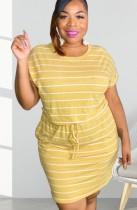 Летнее повседневное платье-рубашка в полоску с завязками на шнурках больших размеров