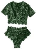 Sexy grüner Spitzen-BH und Höschenset mit hoher Taille