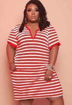 Vestido camisa vermelha casual de verão plus size com listras