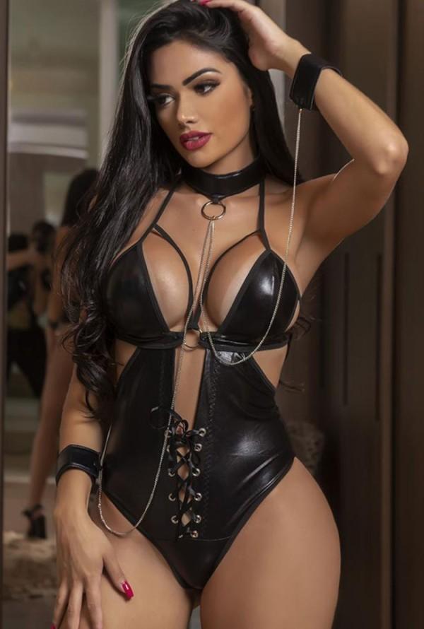 Set di lingerie sexy in pelle nera