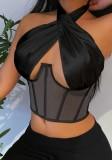 Bustier negro de verano con cuello halter sexy