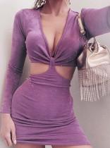 Summer Purple Sexy Cut Out V-Neck Long Sleeve Mini Club Dress