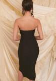 Vestido midi fruncido sin tirantes negro formal de verano