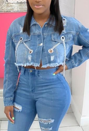 Summer Blue Long Sleeve Chains Short Denim Jacket