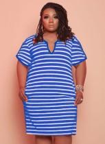 Vestido camisa verão plus size casual com listras azuis