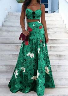 Sommer formales grünes Blumenträger-Crop-Top und hoher Taillen-langer Rock 2PC-Sommerkleid-Set