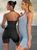 Summer Sports Black Fitness Halter Rompers