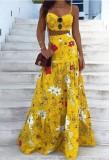 Sommer formales gelbes Blumenträger-Crop-Top und hoher Taillen-langer Rock 2PC Sommerkleid-Set