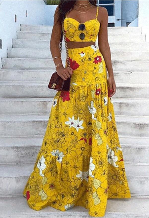 Sommer formale gelbe Blumenriemen Crop Top und hohe Taille langen Rock 2PC Set
