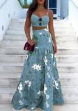 Sommer formales blaues Blumenträger-Crop-Top und hoher Taillen-langer Rock 2PC Sommerkleid-Set