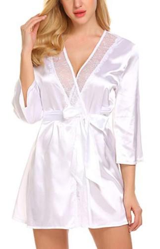 Ensemble de lingerie sexy chemise de nuit et culotte d'été blanc