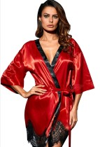 Sommer Rot Sexy Nachthemd und Höschen Dessous Set
