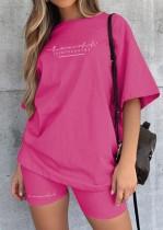 Conjunto de 2 peças de camiseta e shorts de motoqueiro casual rosa estampado
