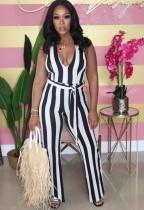 Summer White und Black Stripes Neckholder Jumpsuit