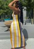 Sommer Multicolor Stripes Long Tank Kleid