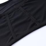 Conjunto de sujetador sexy negro de verano y bragas de cintura alta