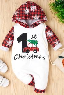Rompertjes met capuchon en kerstprint voor babyjongen