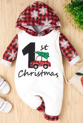 Barboteuse à capuche imprimé de Noël pour bébé garçon