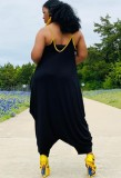 Sommer Plus Size Casual Black Strap Lose Overall
