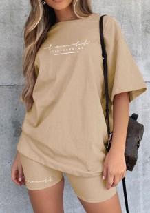 Sommer Casual Khaki Print Shirt und Biker Shorts 2PC Set