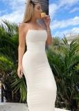 Sommer formale weiße Riemen schlanke lange Kleid