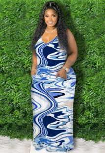 Zomer plus size casual print blauwe band lange maxi-jurk