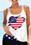 Camiseta sin mangas con tirantes y estampado de bandera de verano