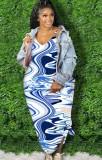 Sommer Plus Size Casual Print Blue Strap Langes Maxikleid
