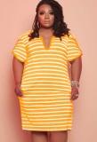 Vestido camisero amarillo de rayas casuales de verano de talla grande