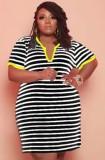 Sommer Plus Size Casual Stripes Schwarzes Hemdkleid