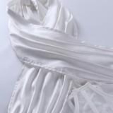 Bustier blanco de verano con cuello halter sexy