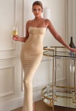Sommer Formal Khaki Strap Slim Langes Kleid