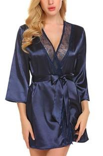 Conjunto de lencería sexy camisón y bragas de verano azul