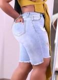 Sommerblaue Jeansshorts mit Cut-Outs und hoher Taille