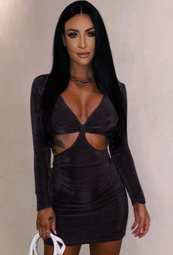 Mini vestido de club de manga larga con cuello en V y corte sexy negro de verano