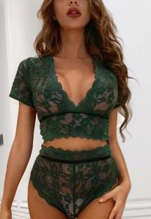 Sexy groene kanten bh en pantyset met hoge taille