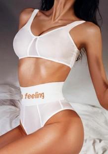 Conjunto de sujetador sexy blanco de verano y bragas de cintura alta